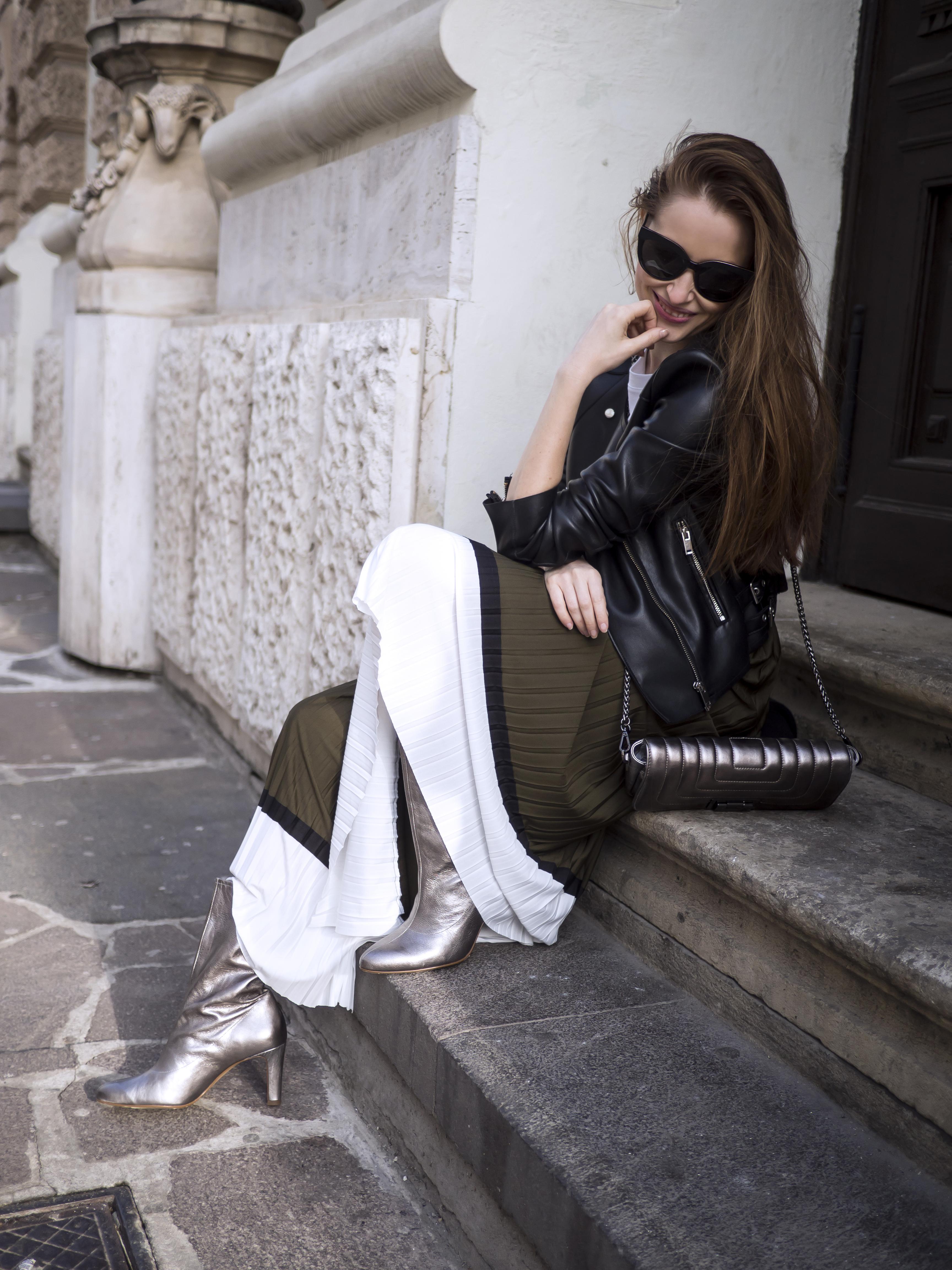 flisovaná skladaná sukňa H&M Bratislava street style