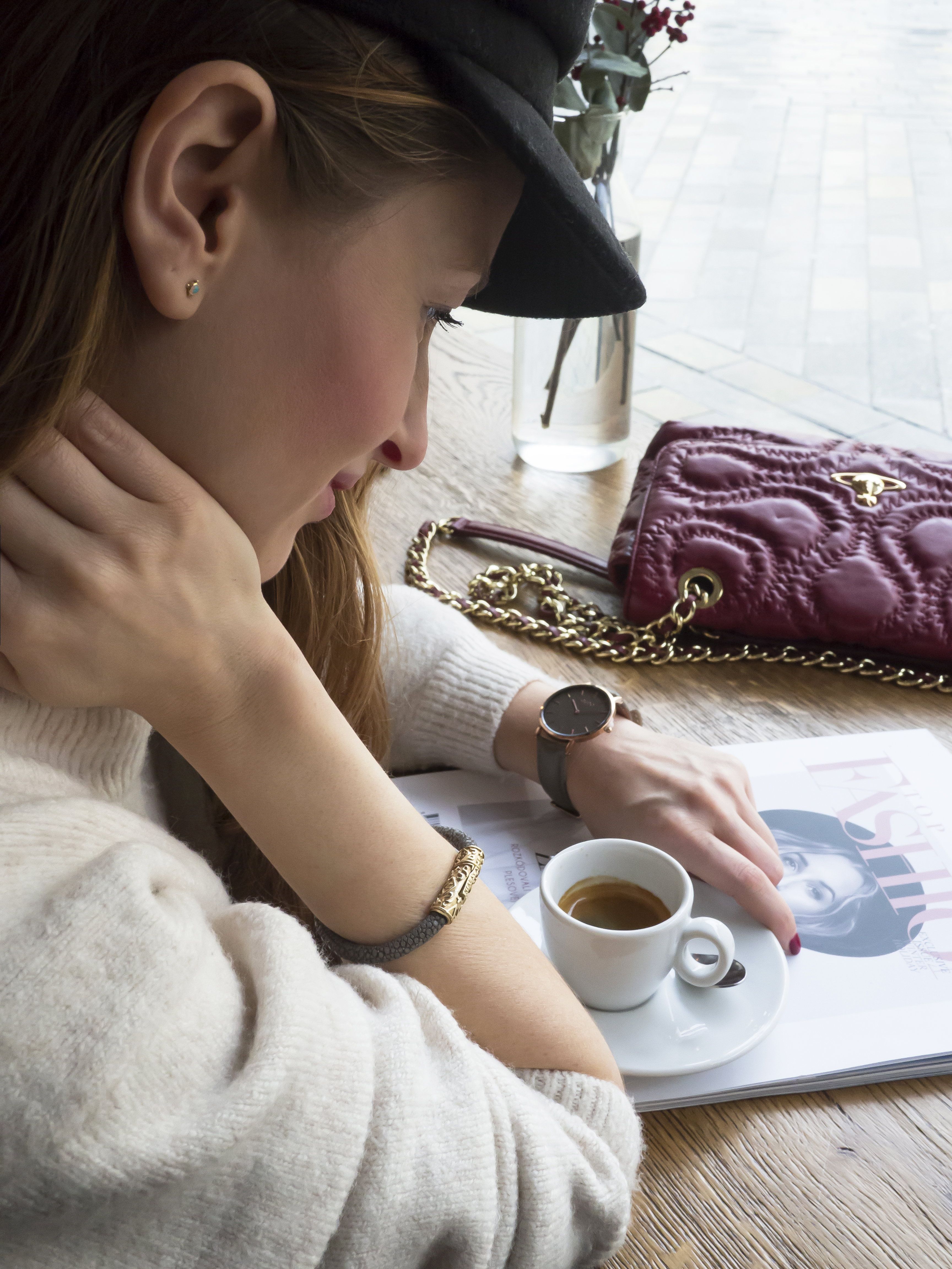 Vlastný štýl - červená kožená kabelka Vivienne Westwood
